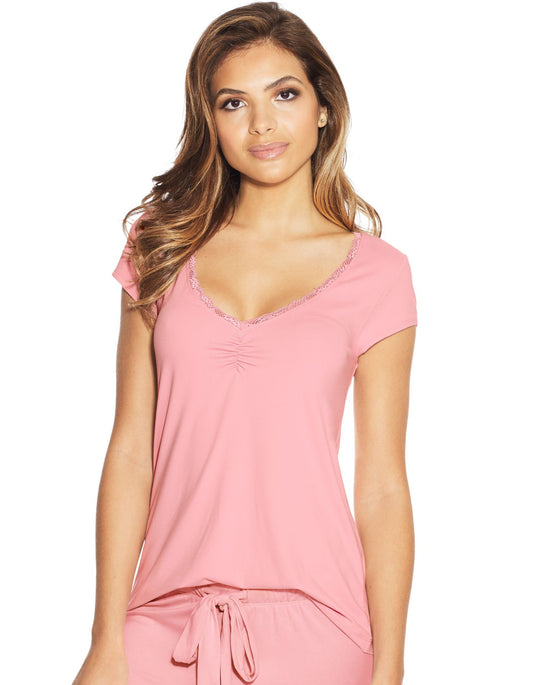 Maidenform Womens Lace Trim Cap Sleeve Tee