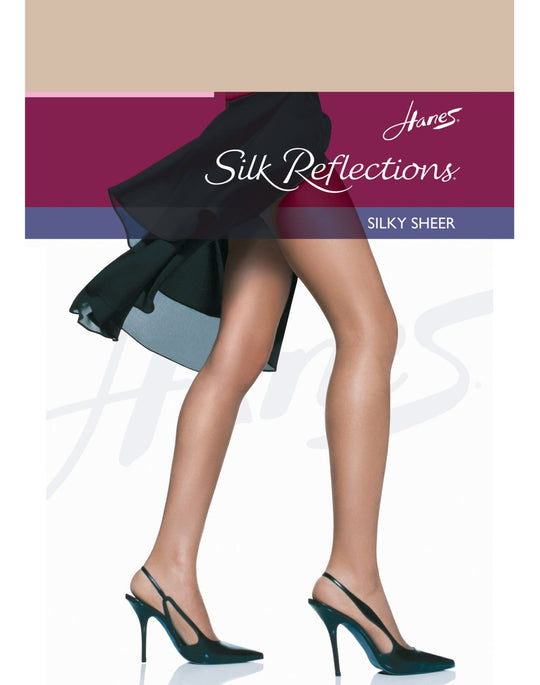 Hanes Silk Reflections Non-Control Top, Reinforced Toe Pantyhose 1 Pair Pack