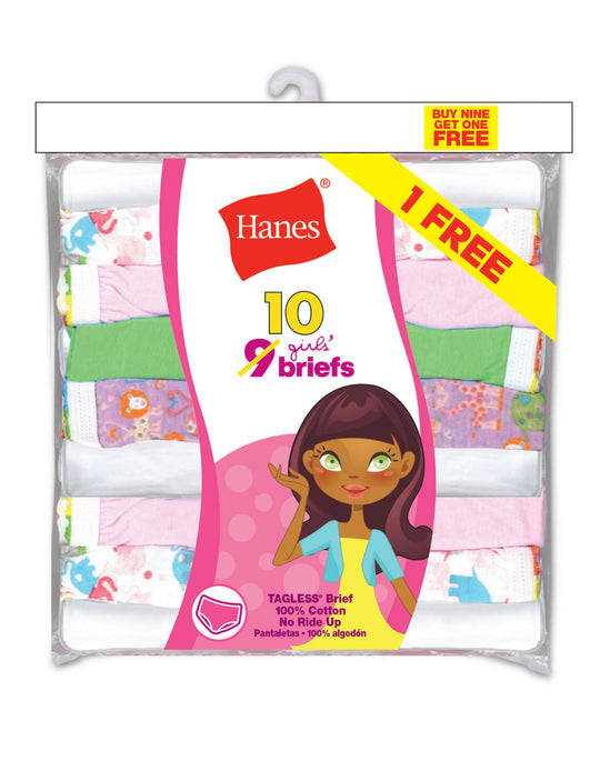 Hanes Girls` ComfortSoft® 10-Pack No Ride Up Briefs