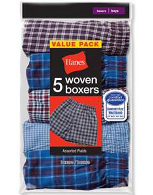 Hanes Men`s Covered Waistband Woven Plaid Boxer, 5 Pack