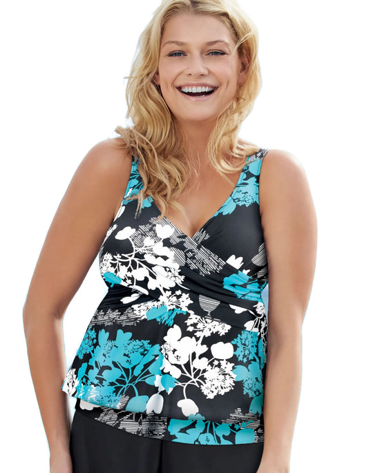 One Hanes Place Women`s Crossover Tankini Swim Top