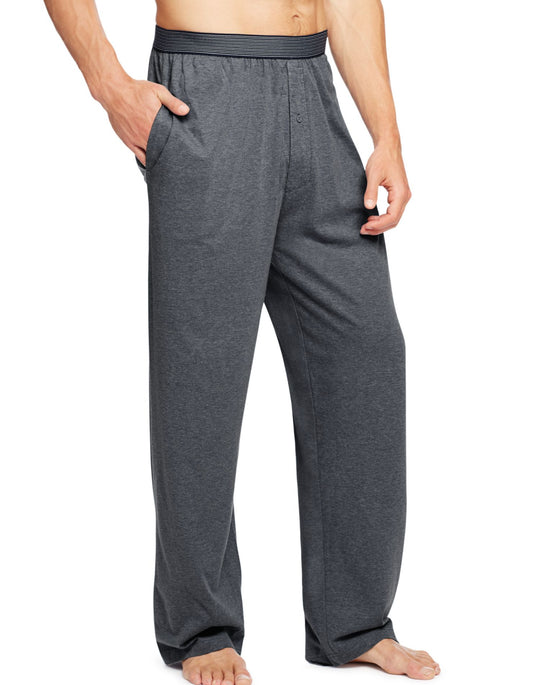 Hanes Men`s Solid Jersey Pant with Striped Comfort Flex® Waistband