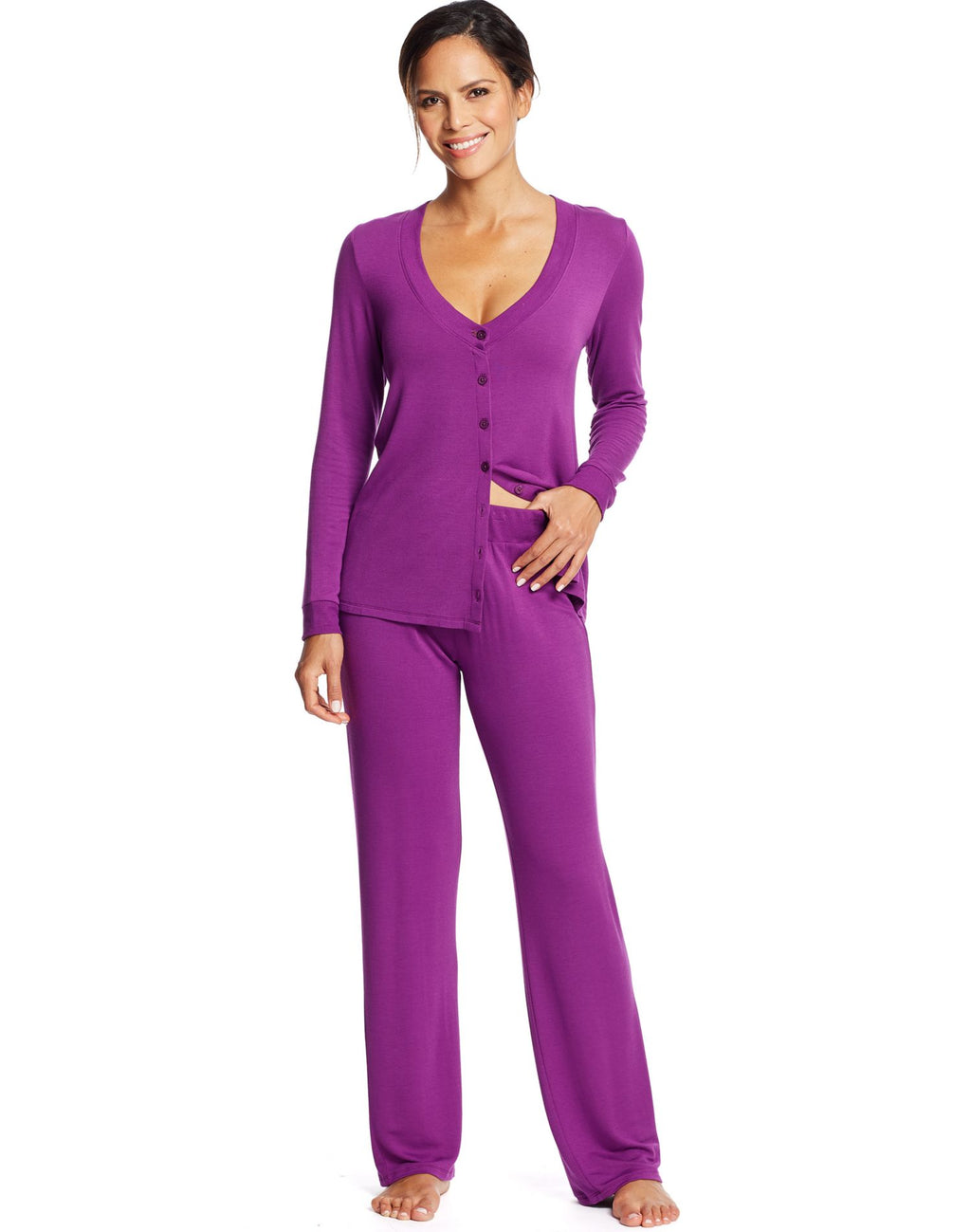 Maidenform Womens Long Sleeve Knit PJ Set