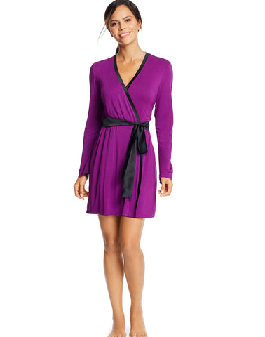 Maidenform Womens Satin Trim Lounge Robe