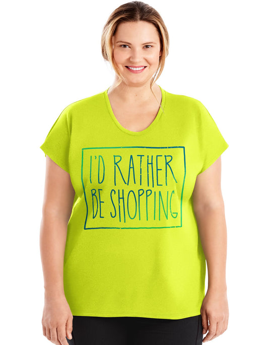 Just My Size Womens Active Dolman Sleeve Graphic Tee