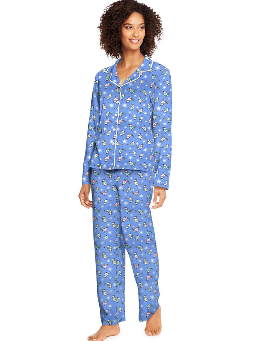 Hanes Womens Knit Notched Collar Top and Pants Sleep Set