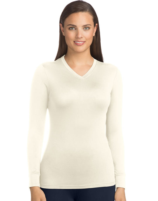 Warm & Cuddly by Cuddl Duds Womens Stretch Micro V-Neck