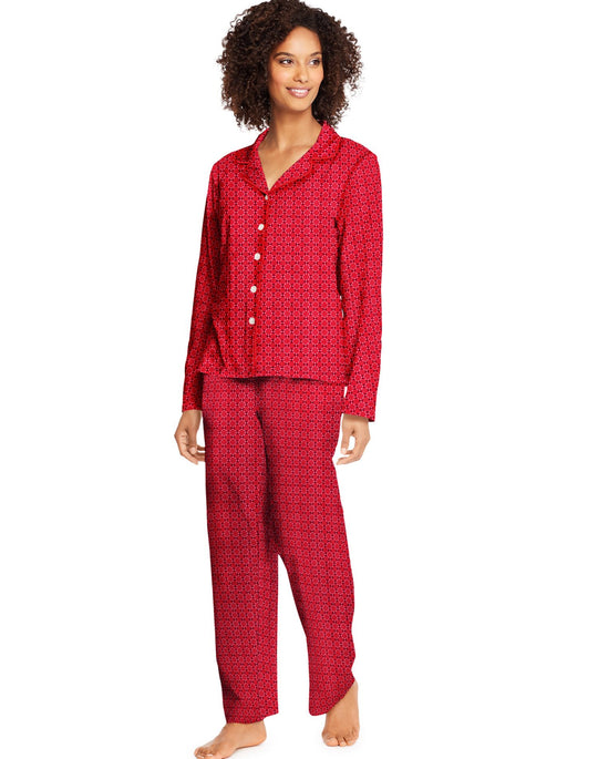 Hanes Womens Plus Knit Notched Collar Top and Pants Sleep Set