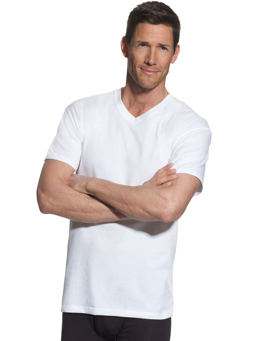 Hanes Mens FreshIQ ComfortBlend 4-Pack Tall V-Neck T-Shirts