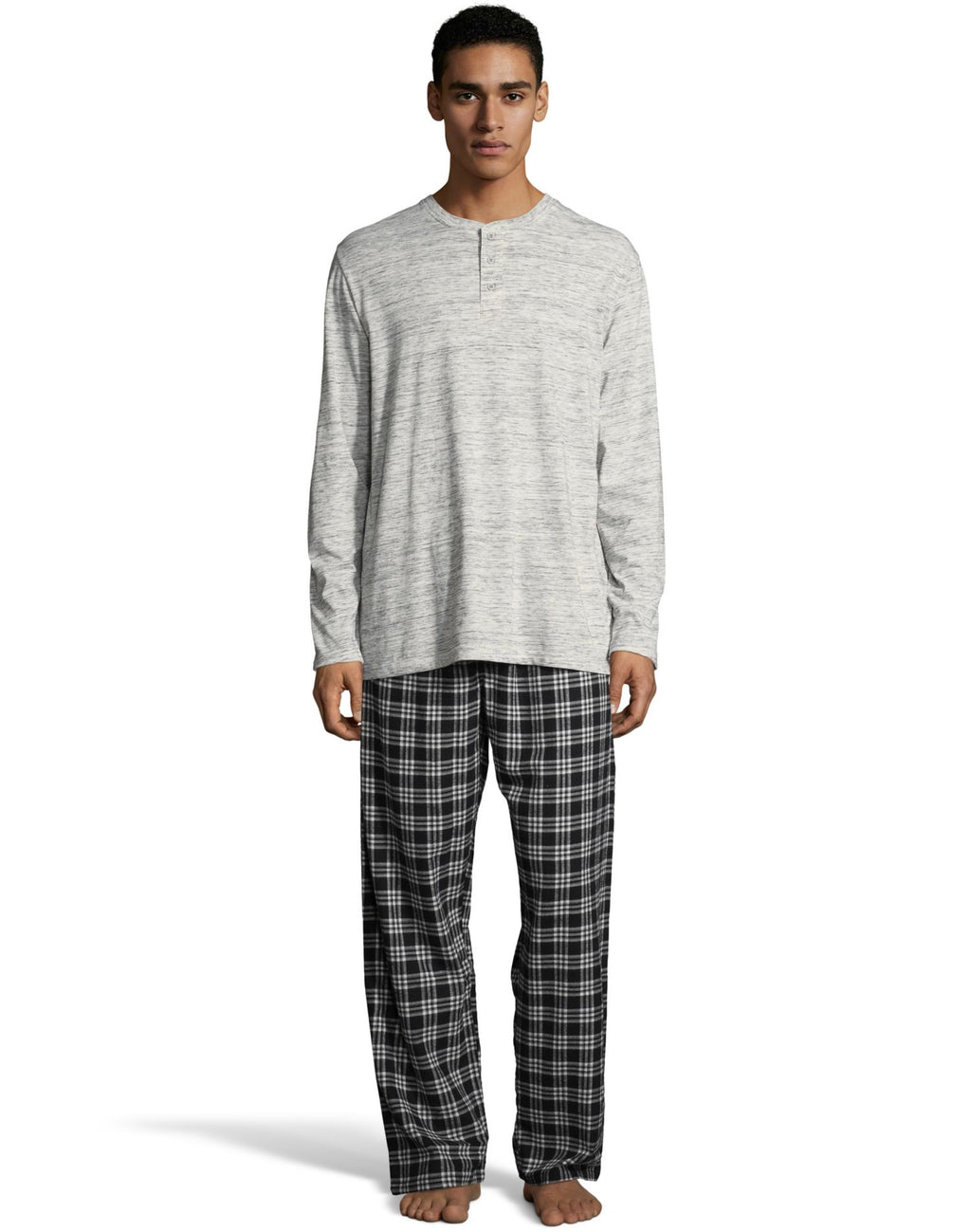 Hanes Mens Henley Crew with Flannel Pant PJ Set