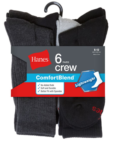Hanes Mens FreshIQ™ ComfortBlend® 6-Pack Lightweight Casual Dress Crew Socks