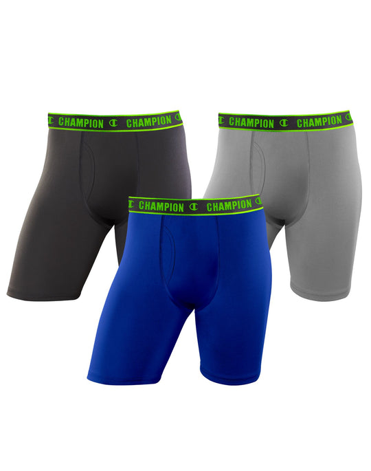 Champion Mens Active Performance 3-Pack Long Leg Boxer Brief