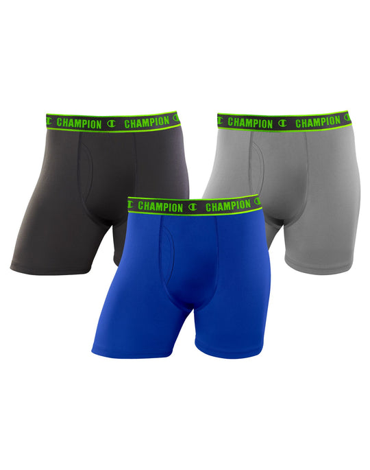 Champion Mens Active Performance 3-Pack Regular Boxer Brief