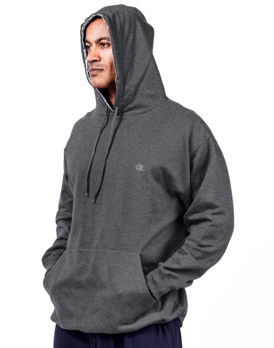 Champion Big & Tall Men`s Pullover Fleece Hoodie with Contrast Liner