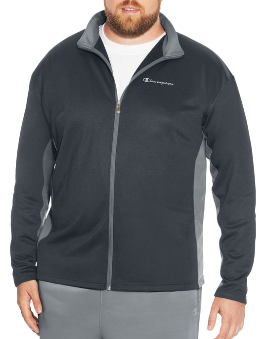 Champion Mens Big & Tall Performance Pieced Full Zip Jacket
