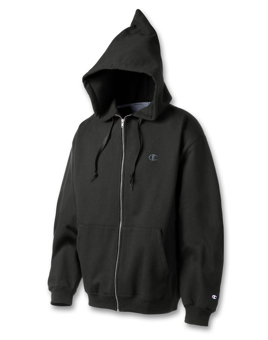Champion Men`s Super Hood® Full-Zip Hoodie with Small Embroidered C