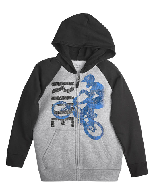 Hanes Boy`s FreshIQ Graphic Full Zip Hoodie