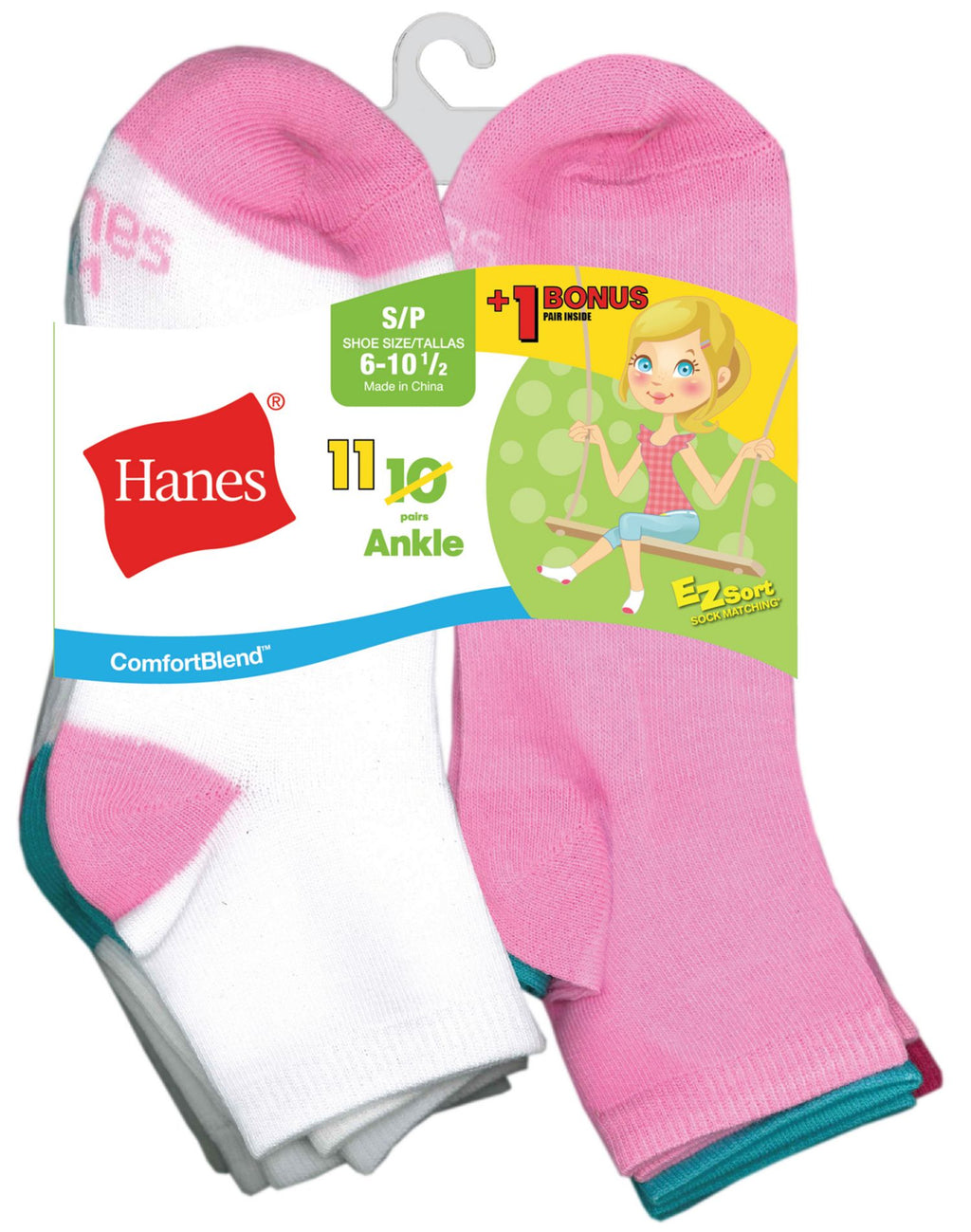 Hanes Girls` EZ-Sort 11-Pack ComfortBlend Ankle Socks
