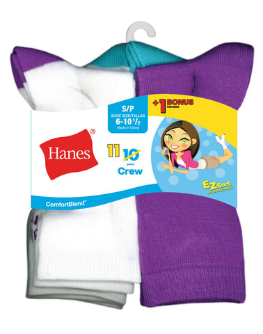Hanes Girls` EZ-Sort ComfortBlend 11-Pack Crew Socks