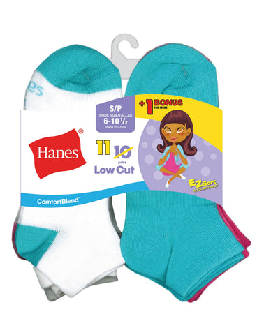 Hanes Girls` EZ-Sort 11-Pack ComfortBlend Low Cut Socks