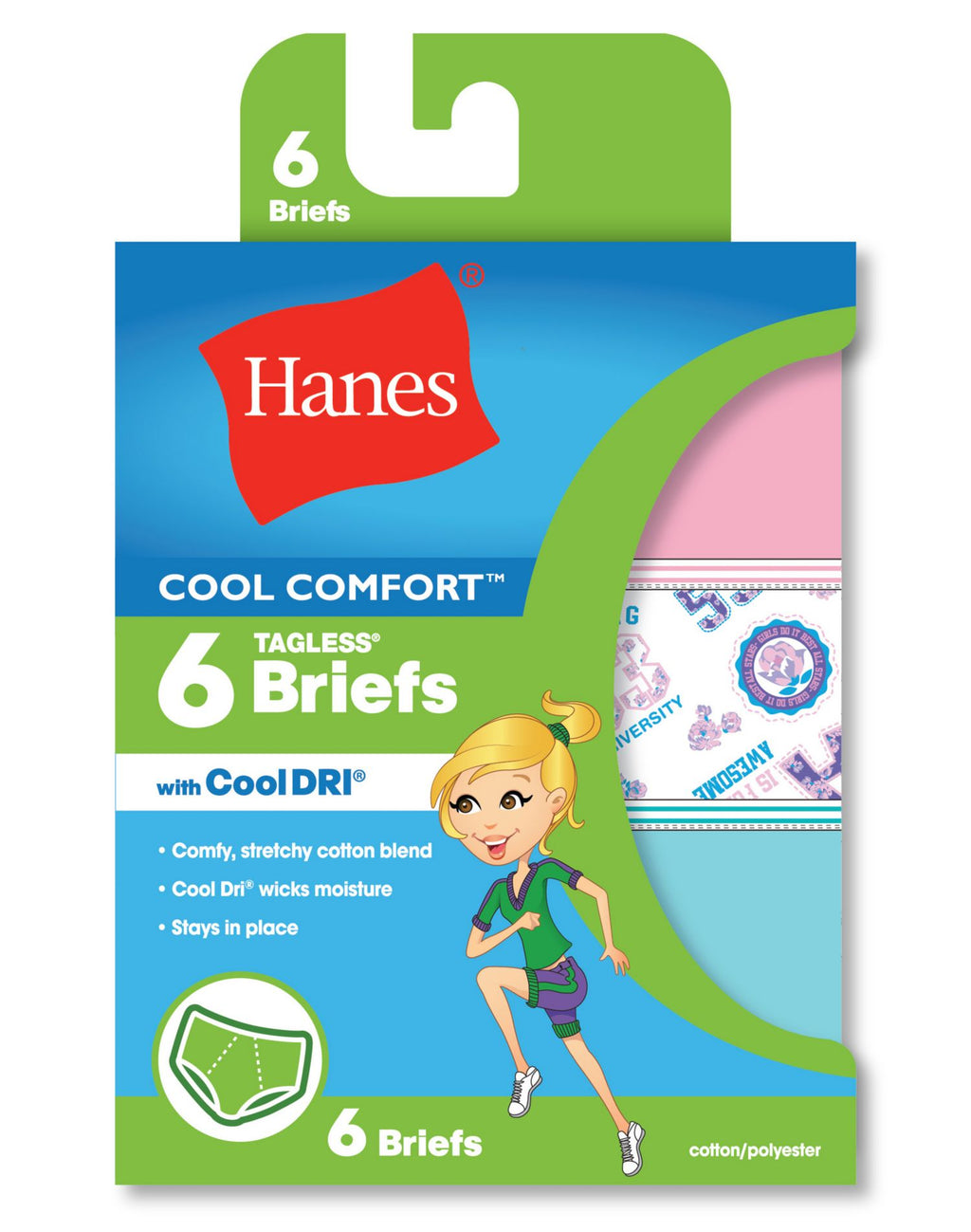 Hanes Girls Cool Comfort Briefs with Cool Dri - 6-Pack