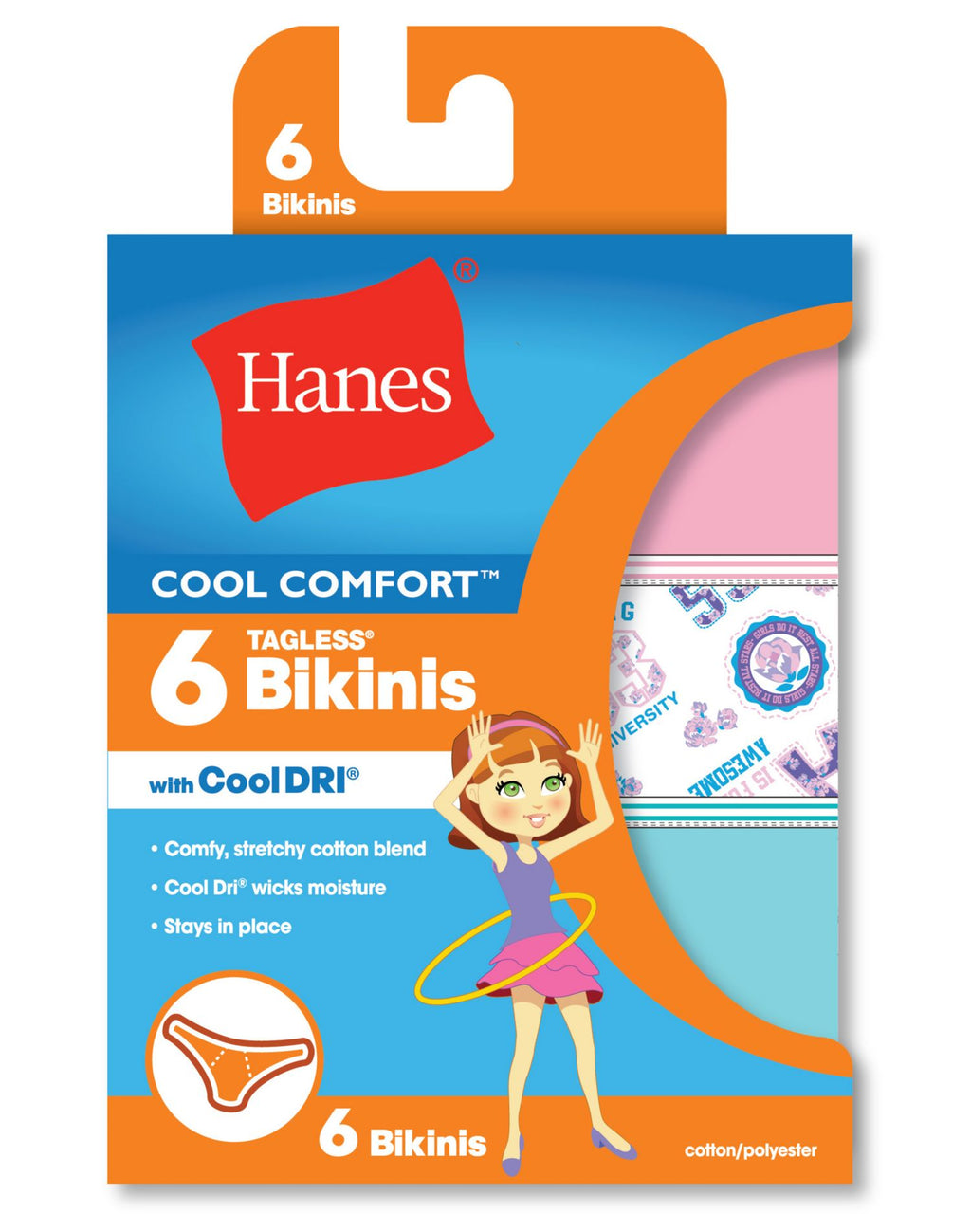 Hanes Girls Cool Comfort Bikinis with Cool Dri - 6-Pack