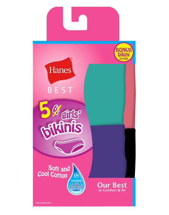 Hanes Girls Best Soft and Cool Bikinis 5-Pack