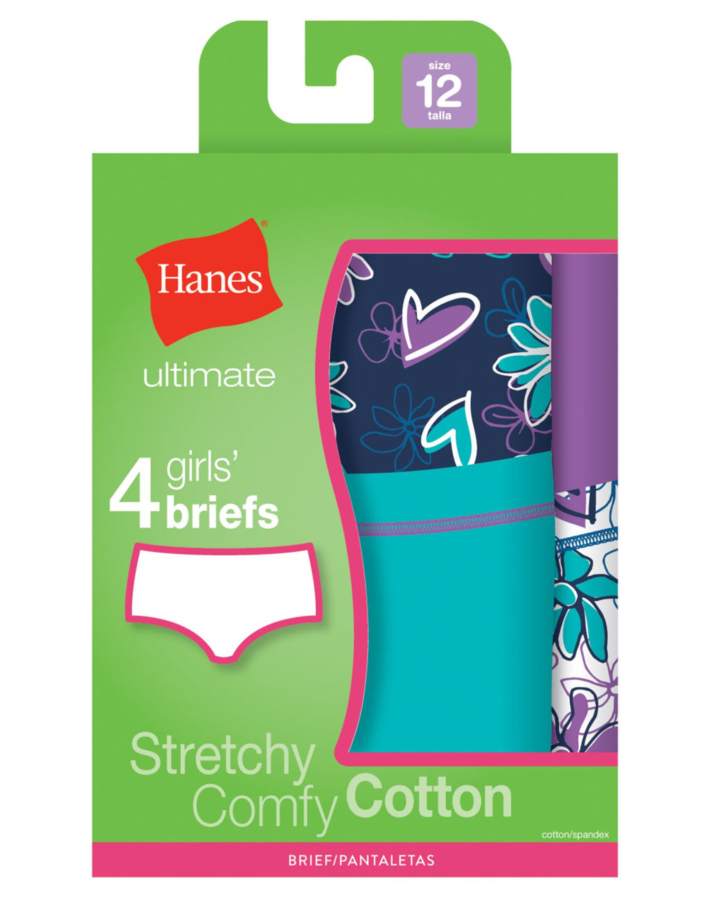 Hanes Girls Ultimate TAGLESS 4-Pack Cotton Stretch Briefs