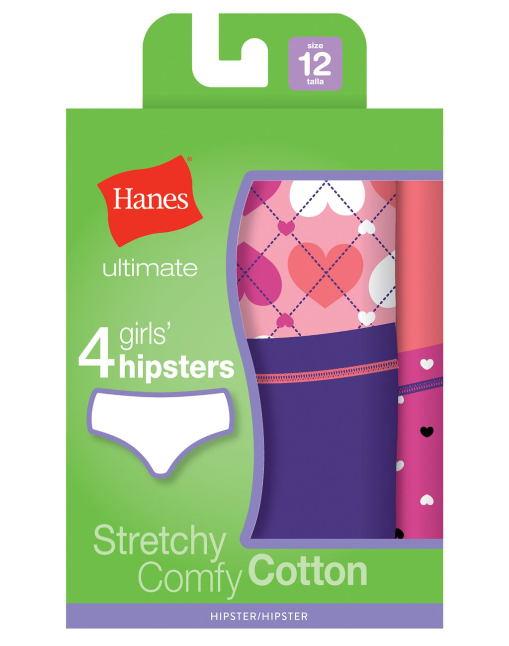 Hanes Girls Ultimate TAGLESS 4-Pack Cotton Stretch Hipsters