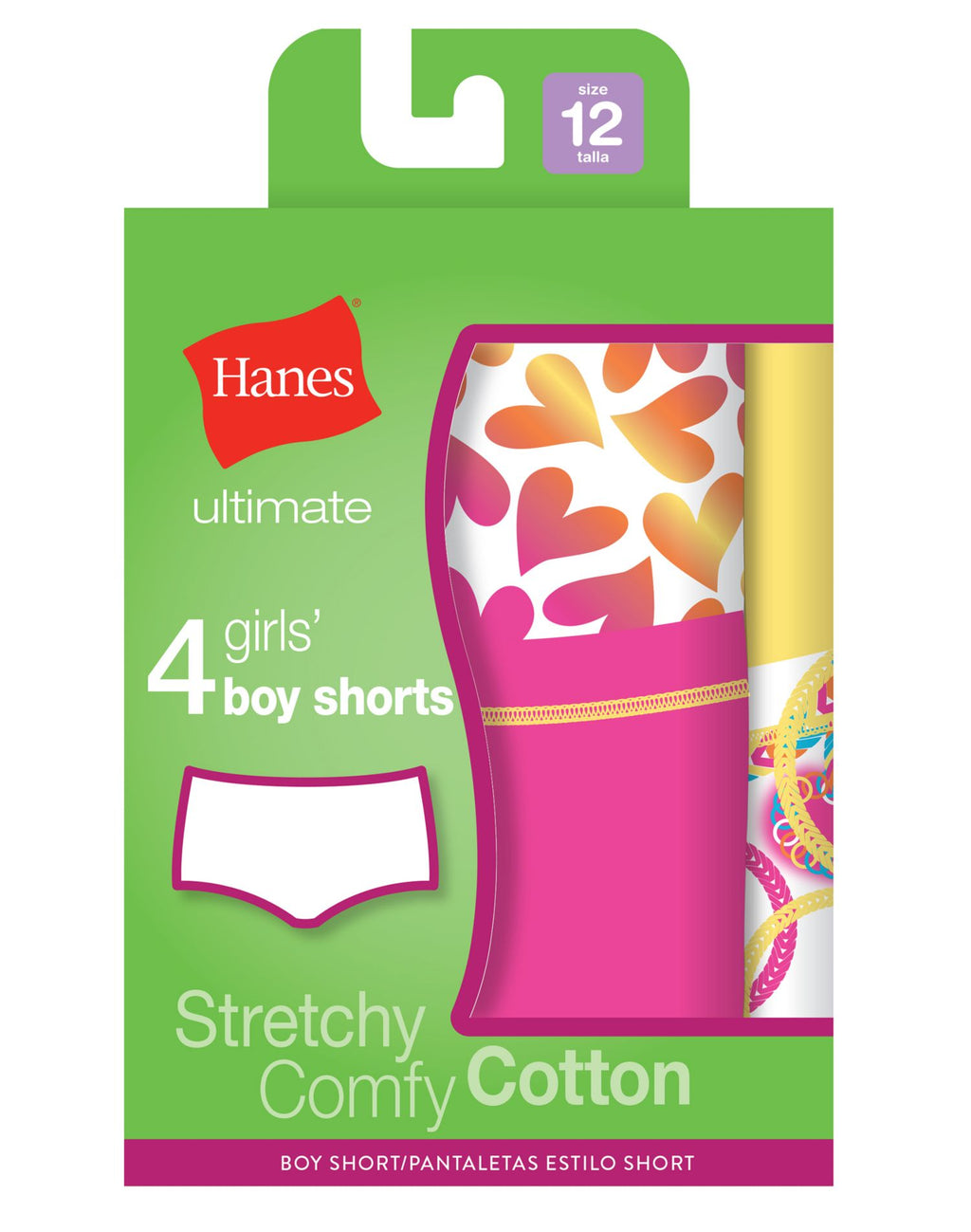 Hanes Girls Ultimate TAGLESS 4-Pack Cotton Stretch Boy Shorts