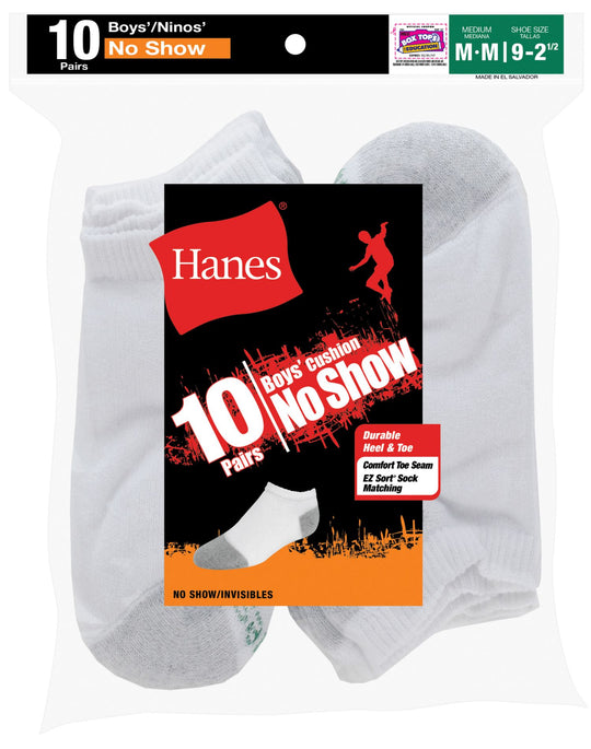 Hanes Boys Red Label Cushion No Show 10 pairs
