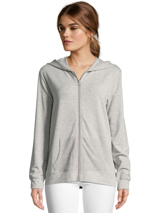 Hanes Womens Heathered French Terry Zip Hoodie