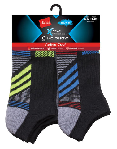 Hanes Boys X-Temp Active Cool No Show Socks 6-Pack