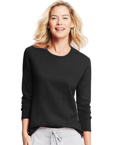 Hanes Women`s Long-Sleeve Crewneck T-Shirt