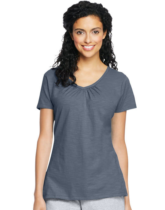 Hanes Women`s Slub Jersey Shirred V-Neck