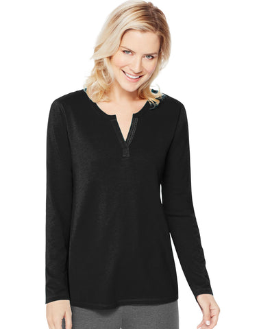 Hanes Women`s Essentials Lightweight Split Neck Tunic