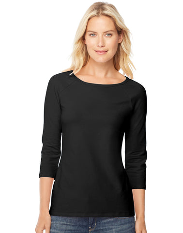 Hanes Women`s Stretch Cotton Raglan Sleeve Tee