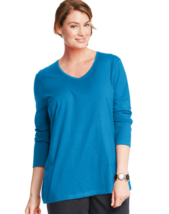 Just My Size Women`s Long-Sleeve V-Neck Tee