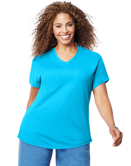 Just My Size Womens Cotton Jersey Short-Sleeve V-Neck Tee