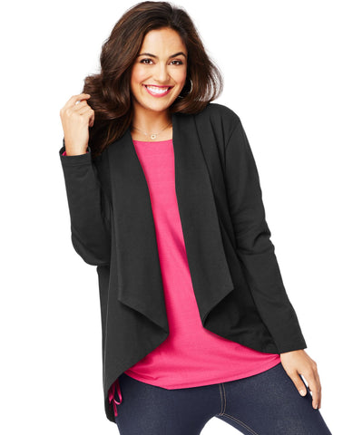 Just My Size Womens Essentials French Terry Flyaway Cardigan