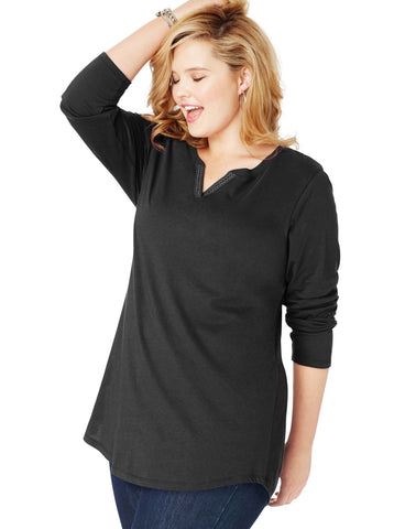 Just My Size Womens Essentials Lightweight Split Neck Tunic