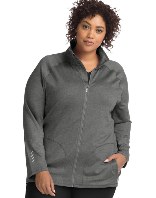 Just My Size Womens Active Full Zip Mock Neck Jacket