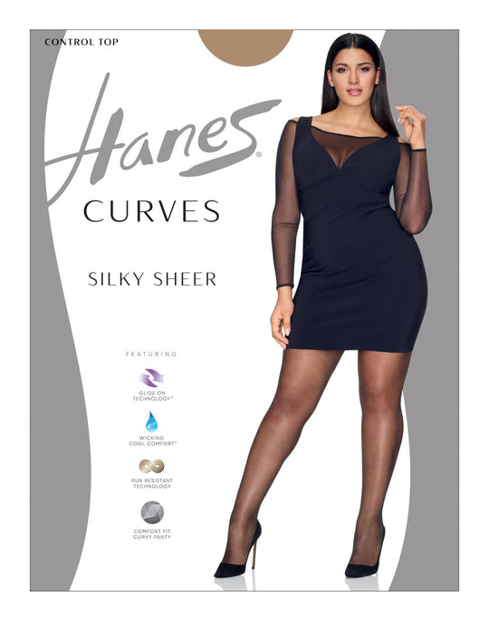 Hanes Womens Curves Silky Sheer Control Top Legwear