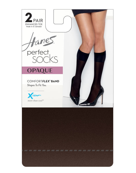 Hanes Womens Perfect X-Temp Opaque Trouser Socks 2-Pack