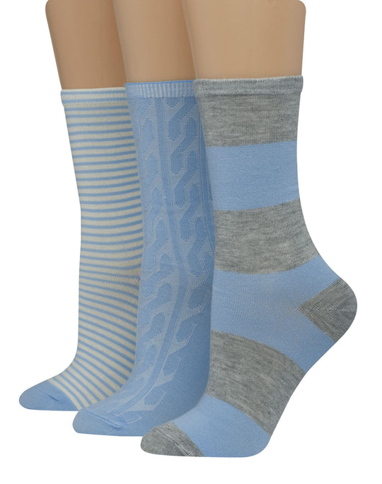 Hanes Womens Giftable 3-Pack Assorted Crew Socks