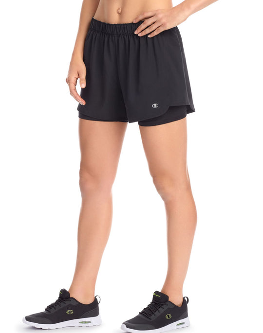Champion Womens Stretch Woven 2 In 1 Shorts