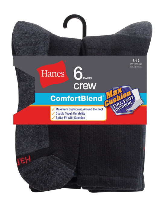 Hanes ComfortBlend Men`s 6-Pack Max Cushion Crew Sock