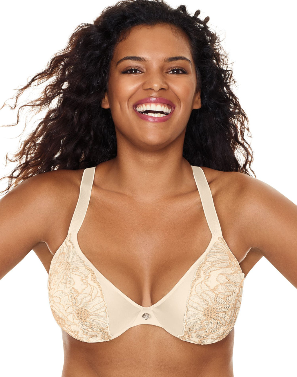 Just My Size Womens Embellished Plunge Underwire Bra