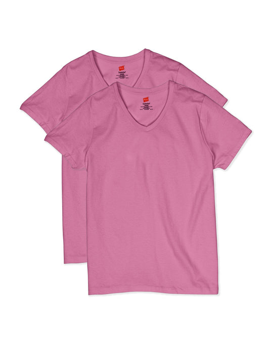 Hanes Womens ComfortSoft Short Sleeve V-neck Tee 2-Pack