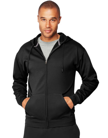 Hanes Mens Sport Performance Fleece Zip Up Hoodie